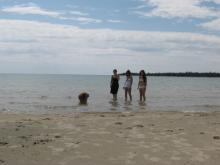 Butters (chow), daughter Laura, me, daughter Elizabeth - Dominion Bay