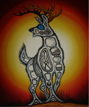 Ghost Deer, oil on canvas by Melvin Madahbee, pg. 91